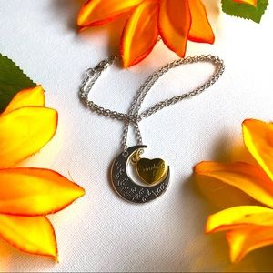 Jewelry - Heart and moon silver & Gold mix metal necklace